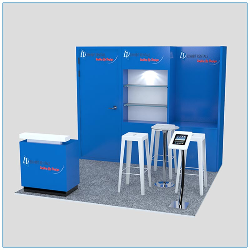 10x10 Trade Show Booth Rental Package 125 - Angle View - LV Exhibit Rentals in Las Vegas