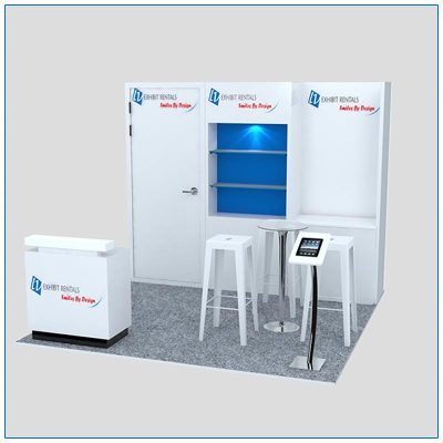 10x10 Trade Show Booth Rental Package 125 - Front Angle View - LV Exhibit Rentals in Las Vegas