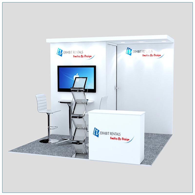 10x10 Trade Show Booth Rental Package 126 - Front Angle View - LV Exhibit Rentals in Las Vegas