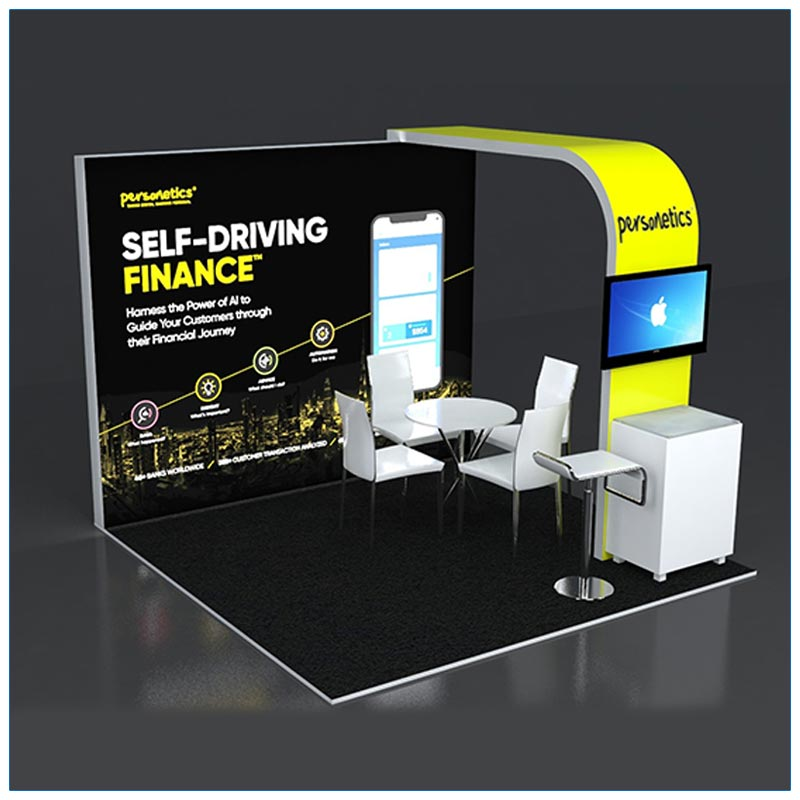10x10 Trade Show Booth Rental Package 129 - Angle View - LV Exhibit Rentals in Las Vegas