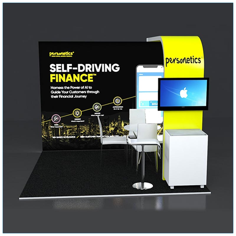10x10 Trade Show Booth Rental Package 129 - Front View - LV Exhibit Rentals in Las Vegas
