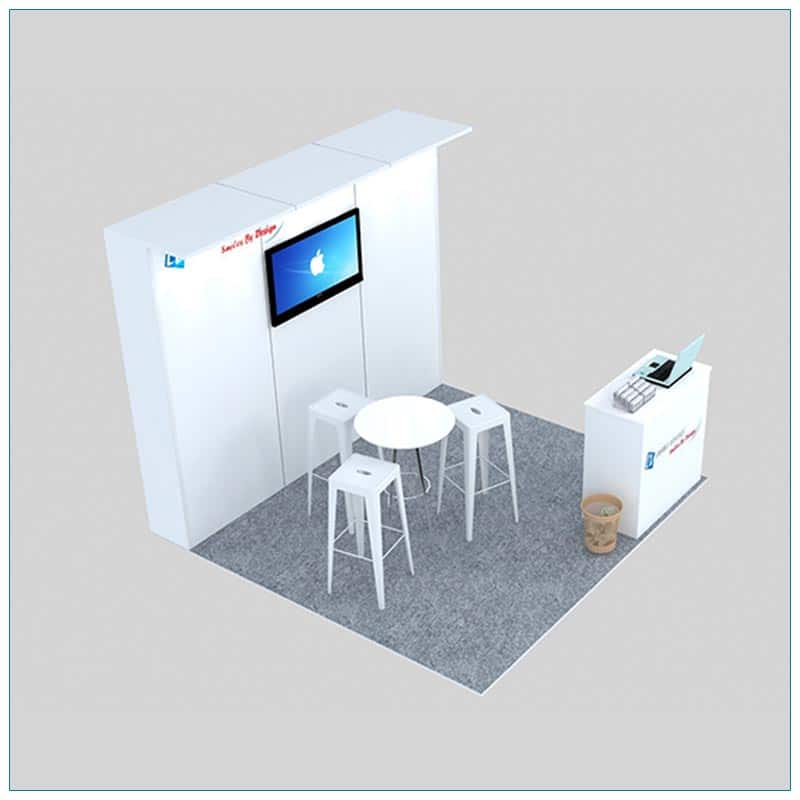 10x10 Trade Show Booth Rental Package 130 - Angle View - LV Exhibit Rentals in Las Vegas