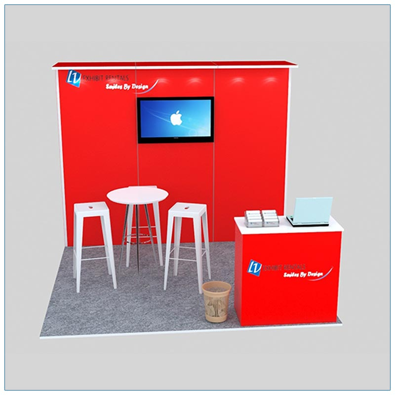 10x10 Trade Show Booth Rental Package 130 - Front Angle View - LV Exhibit Rentals in Las Vegas