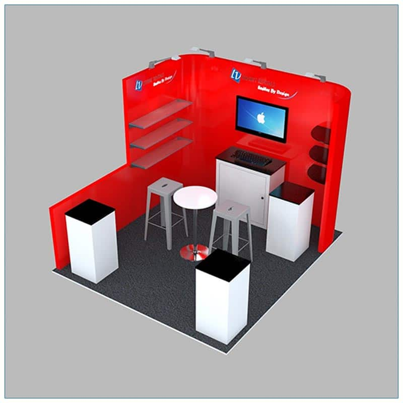 10x10 Trade Show Booth Rental Package 132 - Angle View - LV Exhibit Rentals in Las Vegas