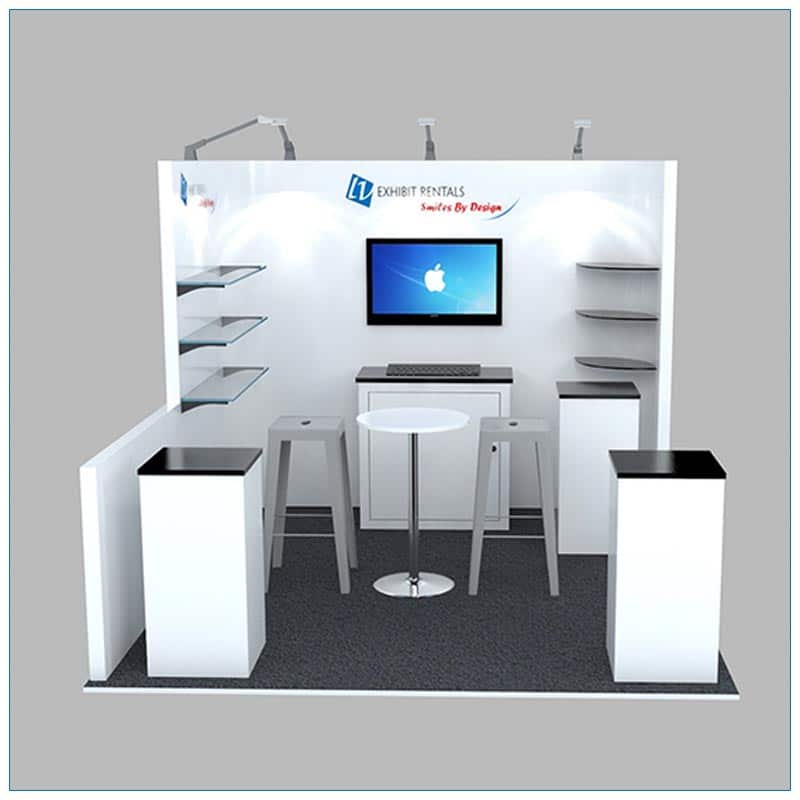10x10 Trade Show Booth Rental Package 132 - Front View - LV Exhibit Rentals in Las Vegas