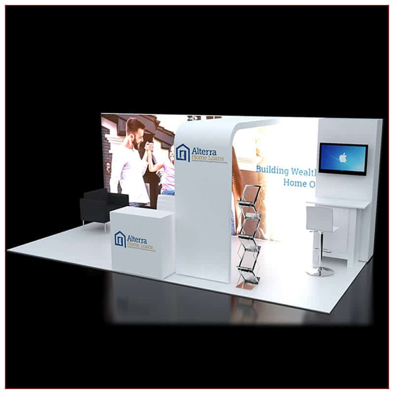10x20 Trade Show Booth Rental Package 240 - Angle View - LV Exhibit Rentals in Las Vegas
