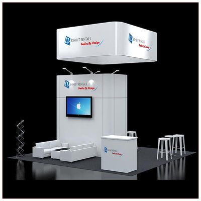 20x20 Trade Show Booth Rental Package 420 - Front Angle View - LV Exhibit Rentals in Las Vegas
