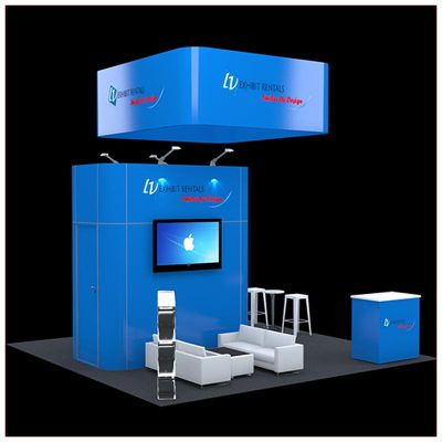 20x20 Trade Show Booth Rental Package 420 - Front Angle View2 - LV Exhibit Rentals in Las Vegas