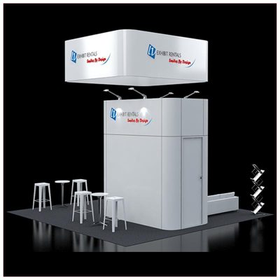 20x20 Trade Show Booth Rental Package 420 - Rear View - LV Exhibit Rentals in Las Vegas