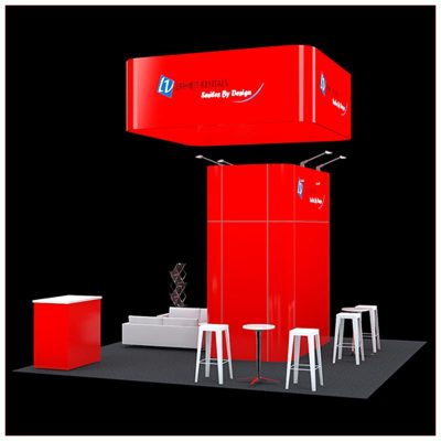 20x20 Trade Show Booth Rental Package 420 - Side View - LV Exhibit Rentals in Las Vegas