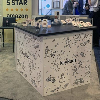 Trade Show Counter Rental Package C7 - Large Square Counter - KeyBudz - CES 2020 - LV Exhibit Rentals in Las Vegas