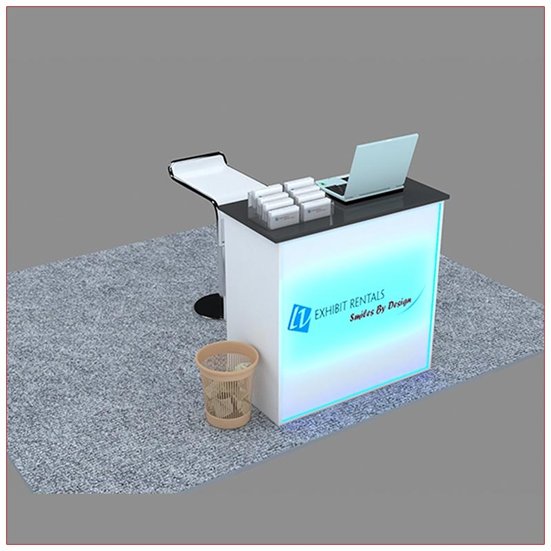Trade Show Reception Counter Rental Package C6 - Angle View2 - LV Exhibit Rentals in Las Vegas