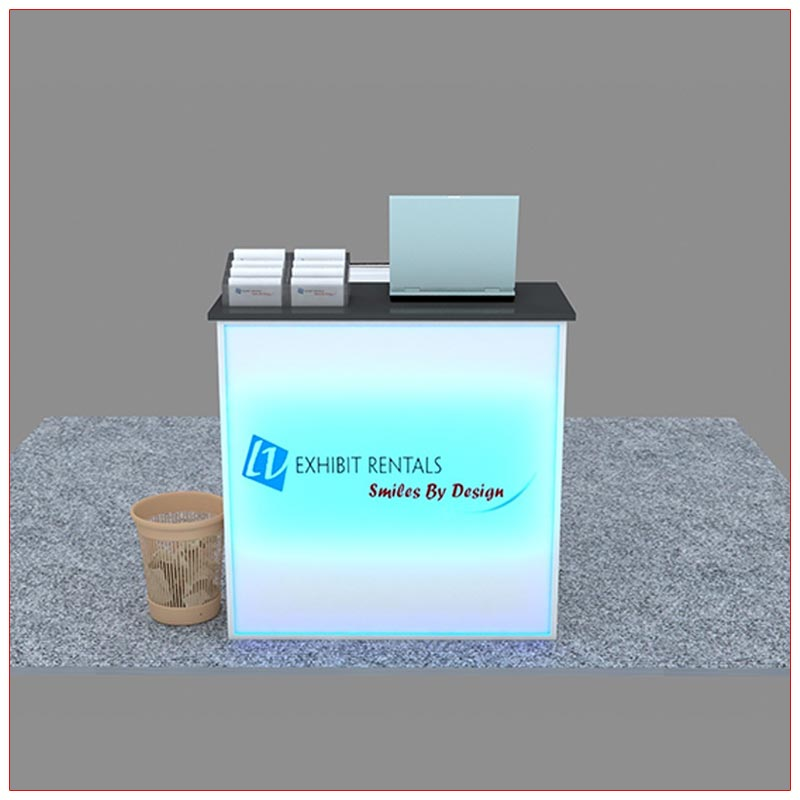 Trade Show Reception Counter Rental Package C6 - Front View - LV Exhibit Rentals in Las Vegas