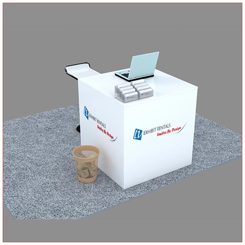 Trade Show Reception Counter Rental Package C7 - Angle View - LV Exhibit Rentals in Las Vegas