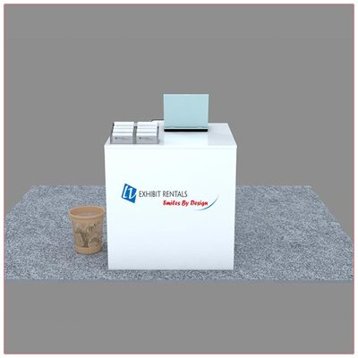 Trade Show Reception Counter Rental Package C7 - Front View - LV Exhibit Rentals in Las Vegas