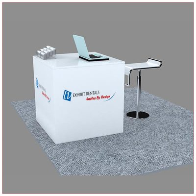 Trade Show Reception Counter Rental Package C7 - Side View - LV Exhibit Rentals in Las Vegas