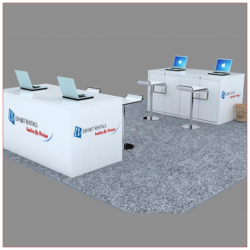 Trade Show Reception Counter Rental Package C8 - Angle View - LV Exhibit Rentals in Las Vegas