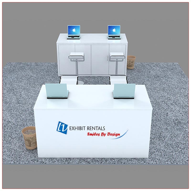 Trade Show Reception Counter Rental Package C8 - Front View - LV Exhibit Rentals in Las Vegas