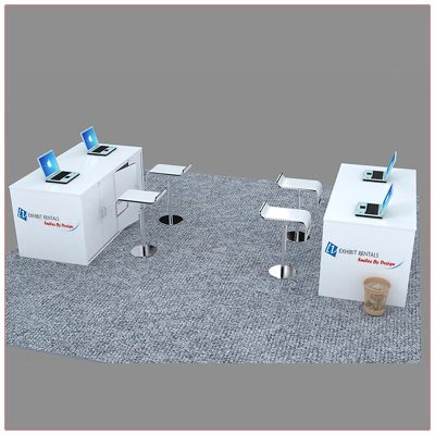 Trade Show Reception Counter Rental Package C8 - Side Angle View - LV Exhibit Rentals in Las Vegas