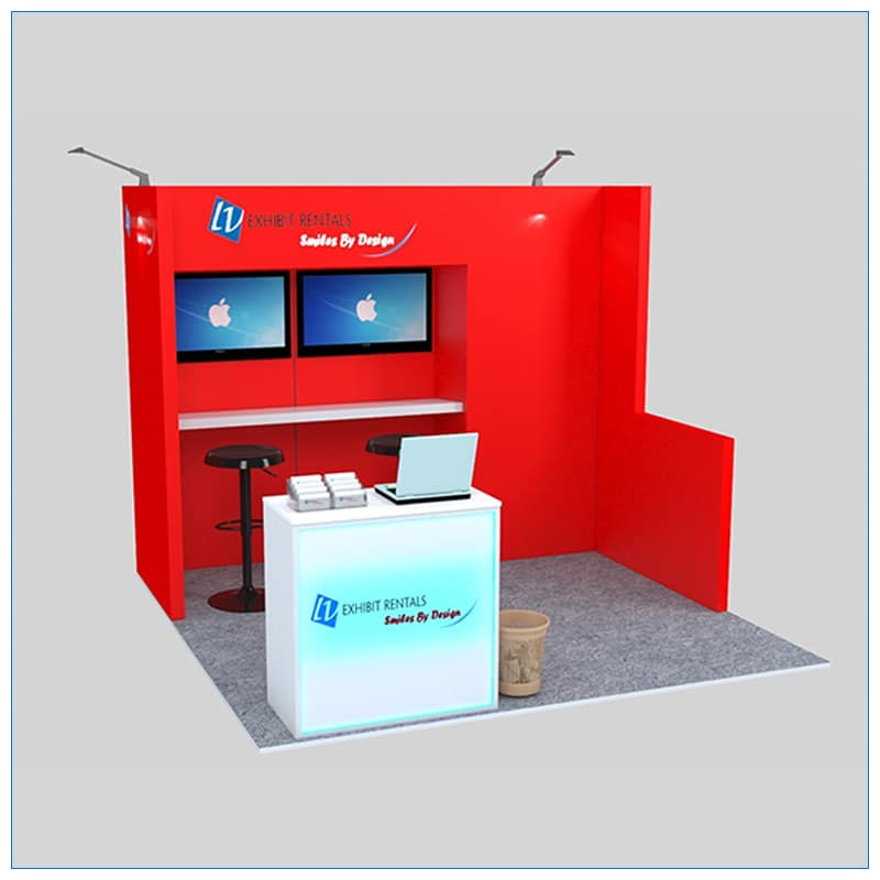 10x10 Trade Show Booth Rental Package 135- Angle View - LV Exhibit Rentals in Las Vegas