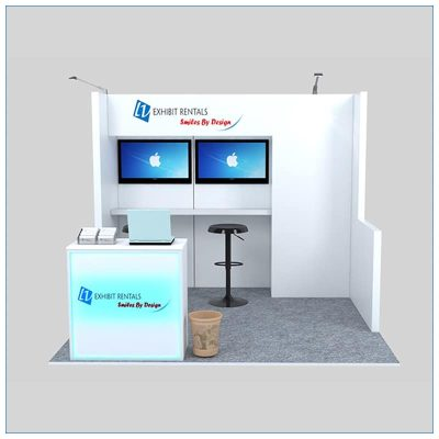 10x10 Trade Show Booth Rental Package 135- Front View - LV Exhibit Rentals in Las Vegas