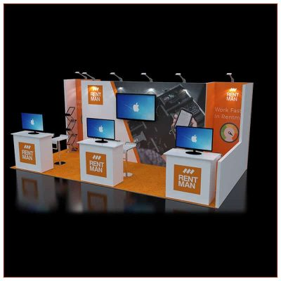 10x20 Trade Show Booth Rental Package 243 - Angle View - LV Exhibit Rentals in Las Vegas