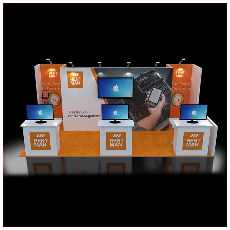 10x20 Trade Show Booth Rental Package 243 - Front View - LV Exhibit Rentals in Las Vegas