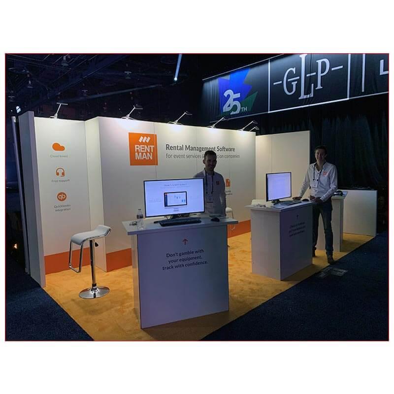 10x20 Trade Show Booth Rental Package 243 - Rentman at LDI 2020 - LV Exhibit Rentals in Las Vegas