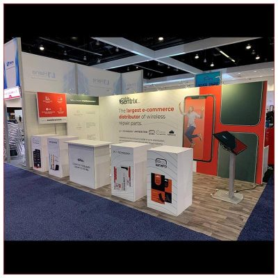 10x20 Trade Show Booth Rental Package 245 - Angle View - LV Exhibit Rentals in Las Vegas