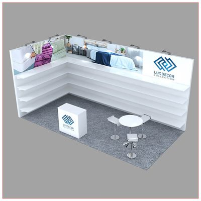 10x20 Trade Show Booth Rental Package 246 - Angle View - LV Exhibit Rentals in Las Vegas
