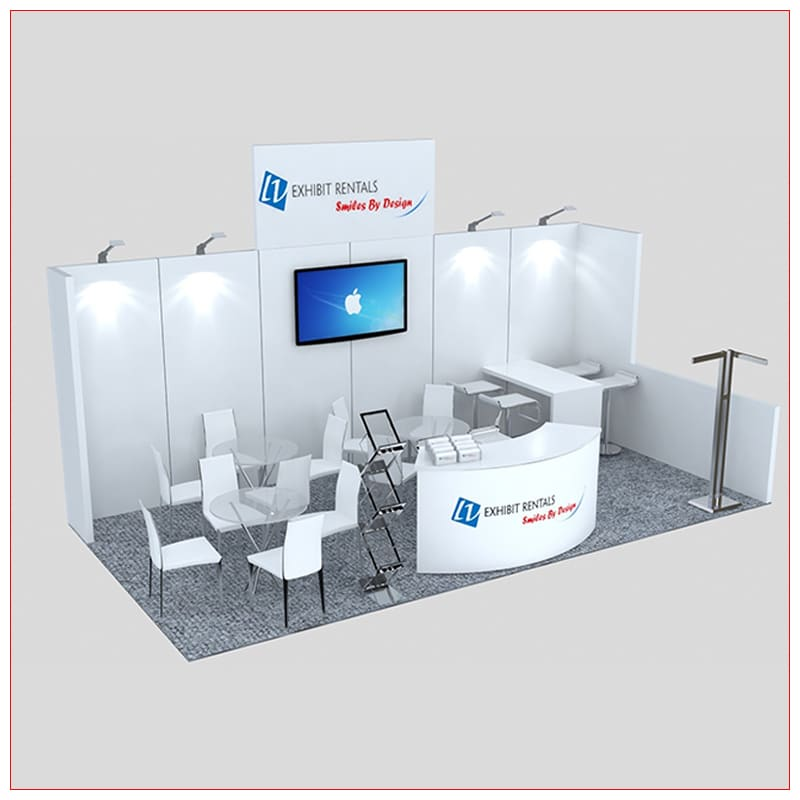 10x20 Trade Show Booth Rental Package 247 - Angle View - LV Exhibit Rentals in Las Vegas