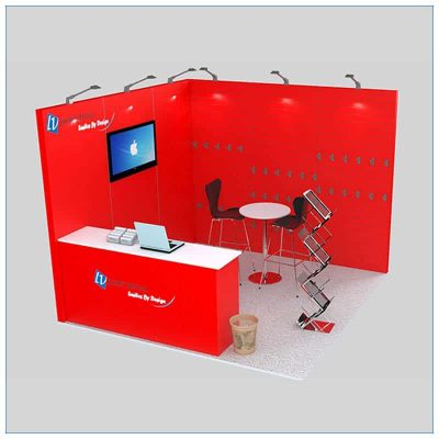 10x10 Trade Show Booth Rental Package 138 - Angle View - LV Exhibit Rentals in Las Vegas