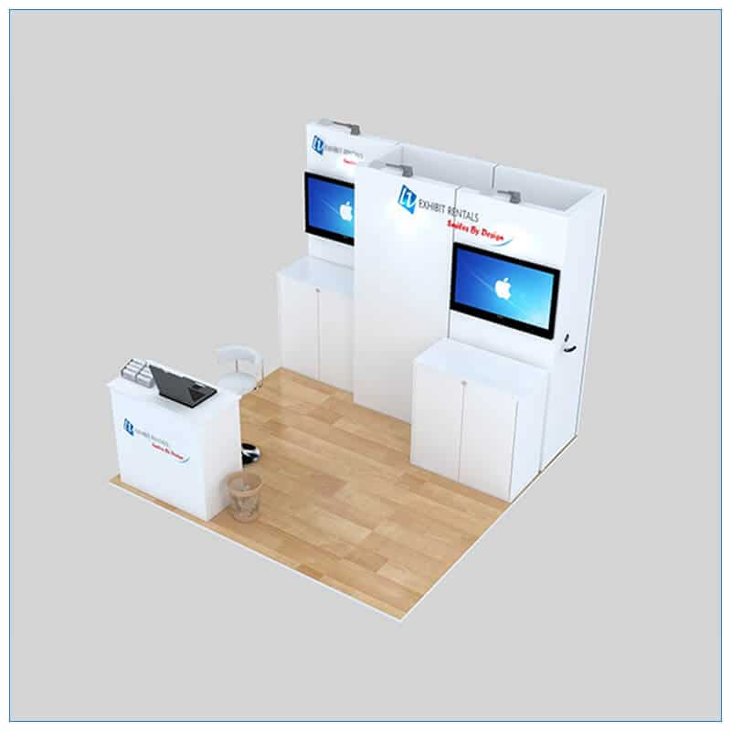 10x10 Trade Show Booth Rental Package 140 - Angle View - LV Exhibit Rentals in Las Vegas