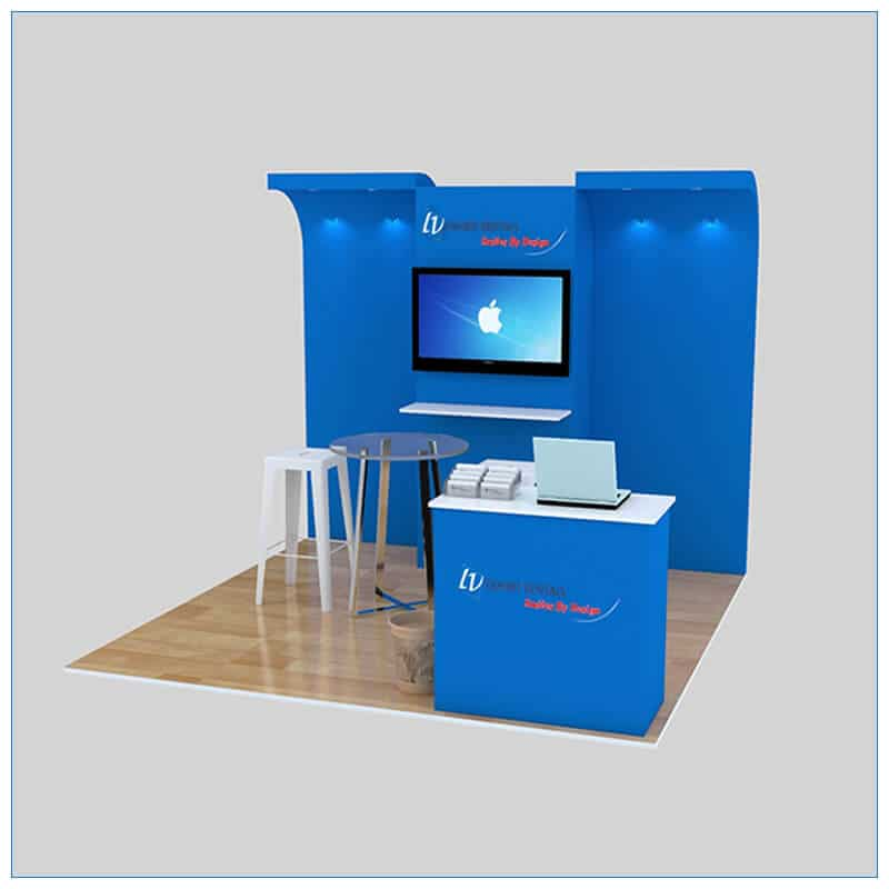 10x10 Trade Show Booth Rental Package 141- Angle View - LV Exhibit Rentals in Las Vegas