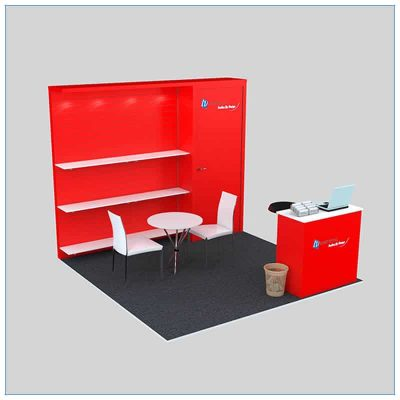 10x10 Trade Show Booth Rental Package 142- Angle View - LV Exhibit Rentals in Las Vegas