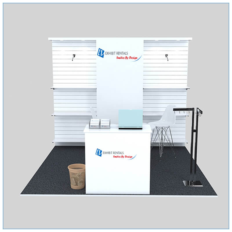 10x10 Trade Show Booth Rental Package 144 - Front View - LV Exhibit Rentals in Las Vegas