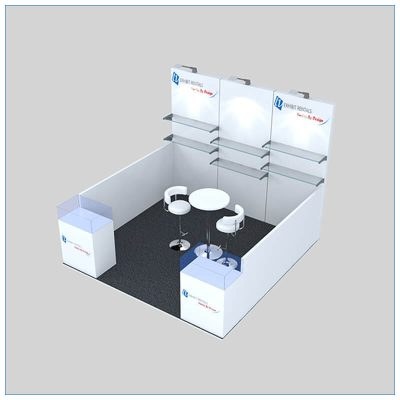 10x10 Trade Show Booth Rental Package 146 - Angle View - LV Exhibit Rentals in Las Vegas