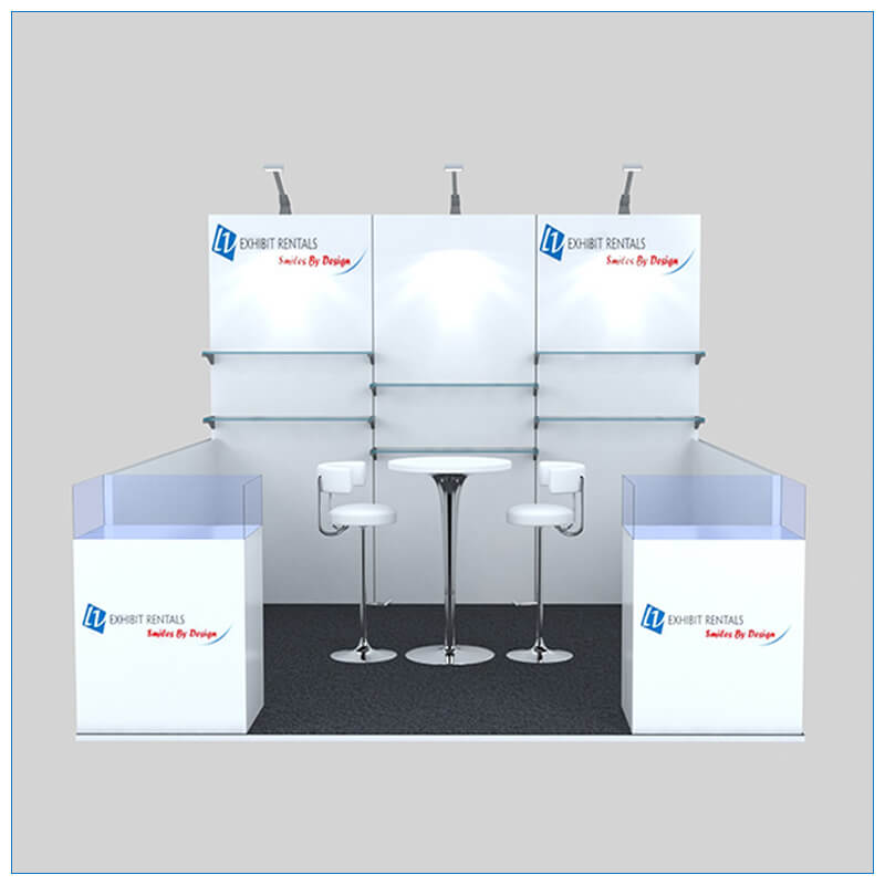 10x10 Trade Show Booth Rental Package 146 - Front View - LV Exhibit Rentals in Las Vegas