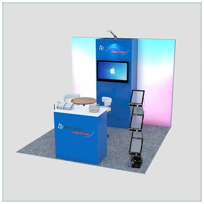 10x10 Trade Show Booth Rental Package 149 - Angle View - LV Exhibit Rentals in Las Vegas