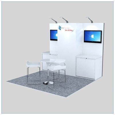 10x10 Trade Show Booth Rental Package 150 - Angle View - LV Exhibit Rentals in Las Vegas