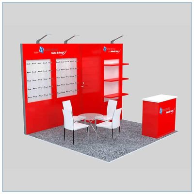10x10 Trade Show Booth Rental Package 151 - Angle View - LV Exhibit Rentals in Las Vegas