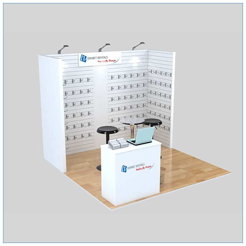 10x10 Trade Show Booth Rental Package 152 - Angle View - LV Exhibit Rentals in Las Vegas