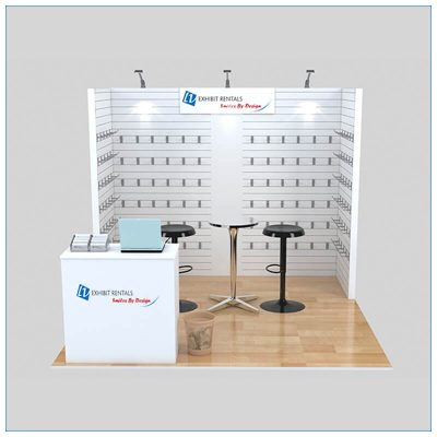 10x10 Trade Show Booth Rental Package 152 - Front View - LV Exhibit Rentals in Las Vegas
