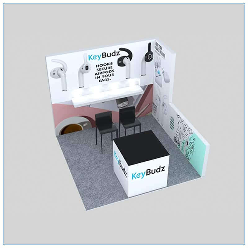 10x10 Trade Show Booth Rental Package 154 - Angle View - LV Exhibit Rentals in Las Vegas