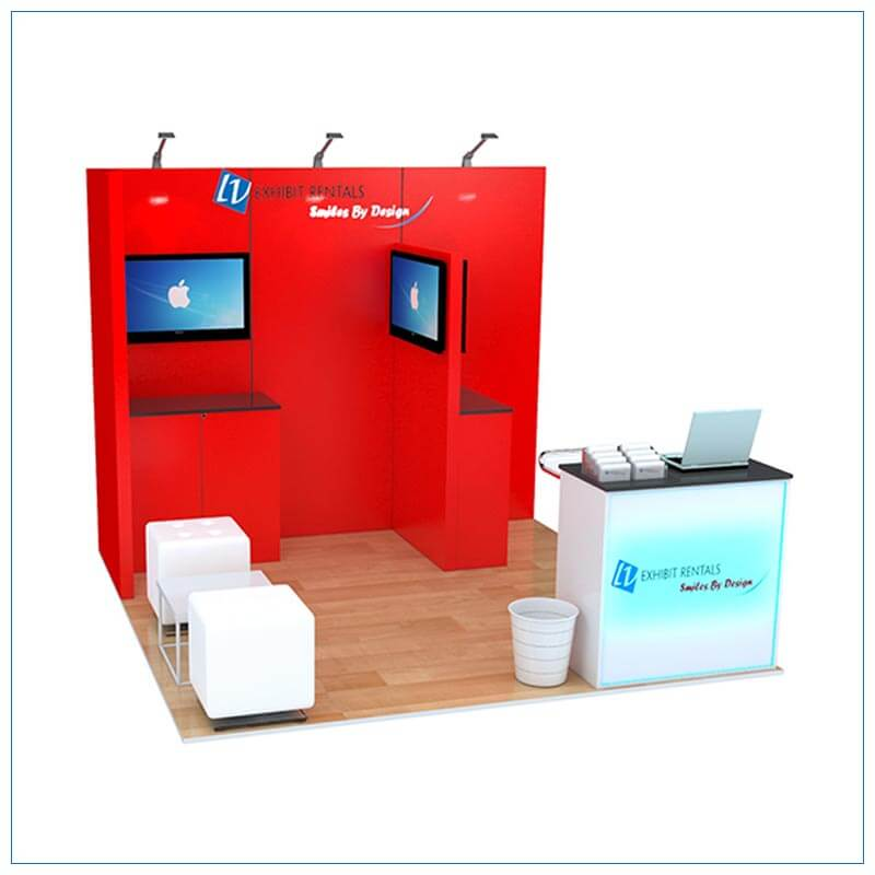 10x10 Trade Show Booth Rental Package 156 - Angle View - LV Exhibit Rentals in Las Vegas