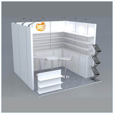 10x10 Trade Show Booth Rental Package 157 - Right Angle View - LV Exhibit Rentals in Las Vegas
