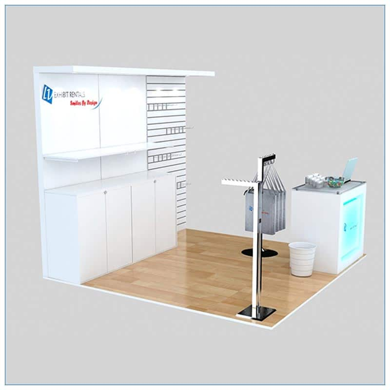 10x10 Trade Show Booth Rental Package 159 - Angle View - LV Exhibit Rentals in Las Vegas