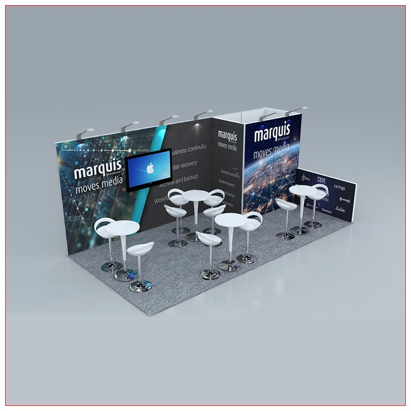 10x20 Trade Show Booth Rental Package 248 - Angle View - LV Exhibit Rentals in Las Vegas