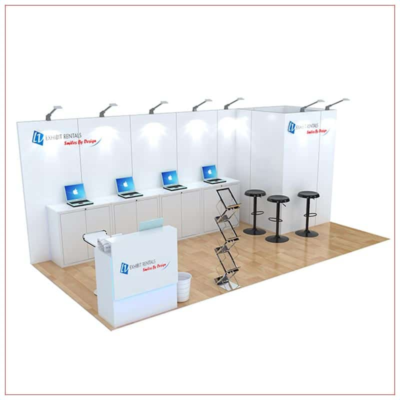 10x20 Trade Show Booth Rental Package 249 - Angle View - LV Exhibit Rentals in Las Vegas