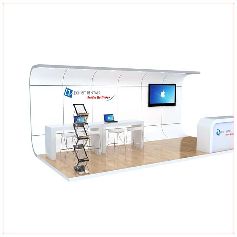 10x20 Trade Show Booth Rental Package 251 - Angle View - LV Exhibit Rentals in Las Vegas